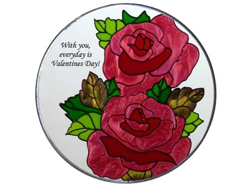 Silver Creek Industries Rose Bouquet Painted Glass Window Hanging