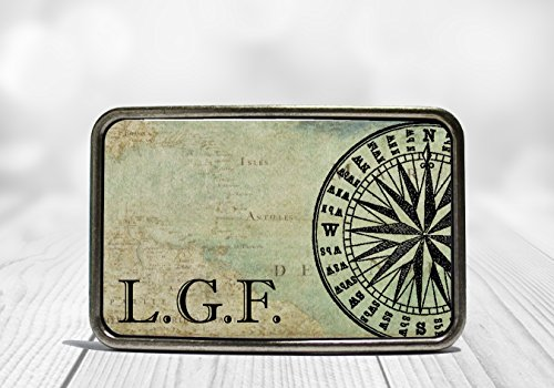 (Custom Monogram Nautical Compass Belt Buckle)