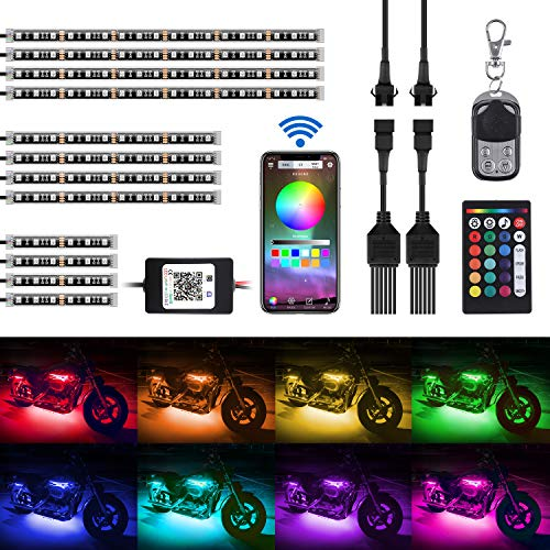 AMBOTHER 12-pc Motorcycle LED Light Kit Strips RGB Waterproof with