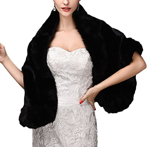 Women's Faux Fur Wrap Cape Bridal Stole Shawl Scarves Shrug for Wedding Party Evening