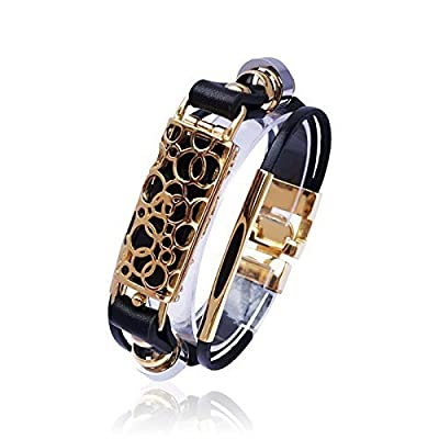 Fitbit Bracelet SOMA - FitBit flex Jewelry - Black/ Gold - stainless steel - real leather