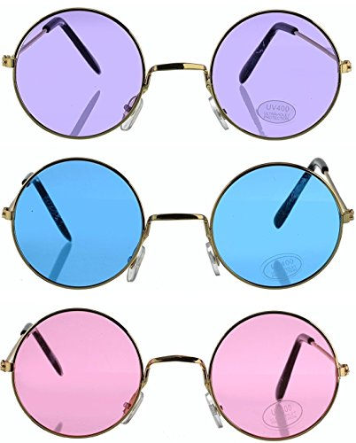 Toy Spout Set of 3 Round Hippie Sunglasses - John Lennon Style Colored Glasses - Costume Accessories