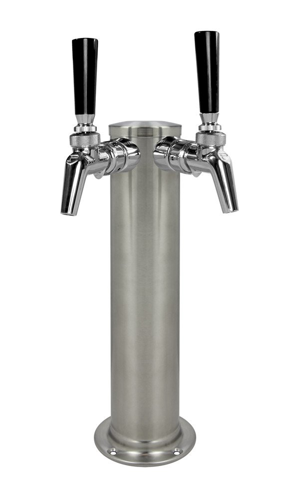 """Kegco DT145-2BS-630SS 14"""" 2-Tap Brushed Stainless Tower - Perlick 630SS"""