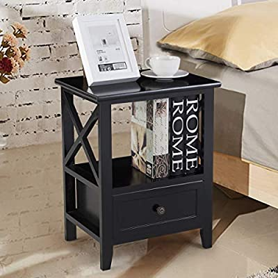 Giantex Nightstand Set of 2 End Tables W/Storage Shelf and Wooden Drawer for Living Room Bedroom Bedside Accent Home Furniture Side Table