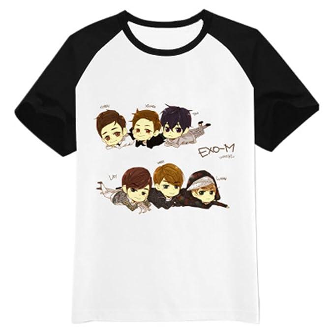 Amazon.com: Fanstown EXO kpop logo black shoulder shirt EXO M EXO K Beakhyun Luhan: Clothing