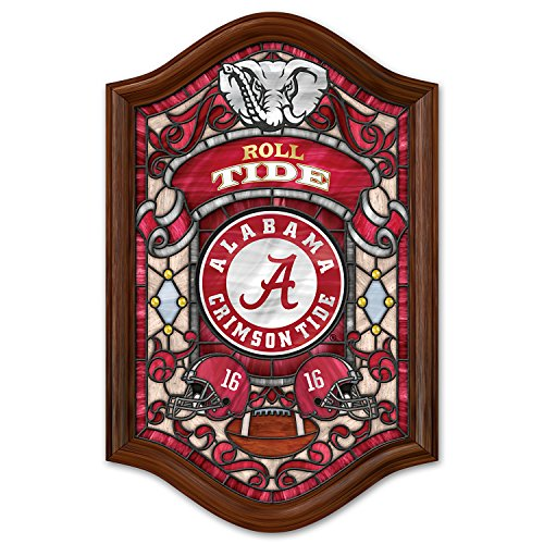 Officially Licensed University of Alabama Stained Glass Wall Decor Lights Up by The Bradford Exchange ()