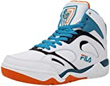 Fila Men's Kj7 White/Red Orange Biscay Bay Ankle-High Leather Basketball Shoe - 8M