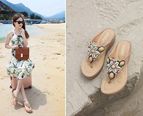 Summer Couleur Toe Abricot Mme Sandales Pure LIANGXIE Perles Couleur Clip Sandale New ZHHZZ qEFfCZp