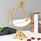 Food Serving Tray Set Vintage Golden Alloy Display Stand with White Ceramic Dishes Fruit Plate Basket for Salad Bowls Fruit Cake Cookies for Parties Hosting (XRA-230)