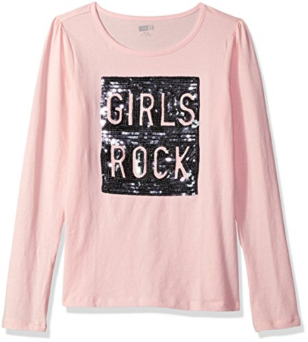 Rock Graphic Tee - Crazy 8 Little Girls' Long Sleeve Sparkle Graphic Tee, Rose Girls Rock, XS