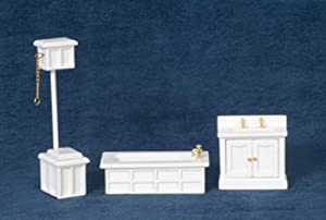 Town Square Miniatures Dolls House Miniature 1:24 Scale White Victorian Bathroom Furniture Set Suite