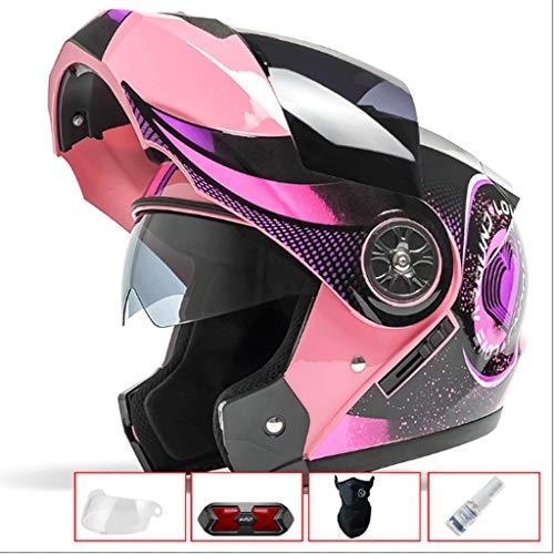 WXL Casco de Doble Lente para Motocicleta Hombres y Mujeres Verano de protección Solar Four Seasons Universal de Cara...
