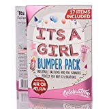 Large 'ITS A GIRL' Inflatable Foil Balloons & Foil Banners Bumper Pack for Baby Shower ~ 17 Items Included, Fill with either Air or Helium (Pink)