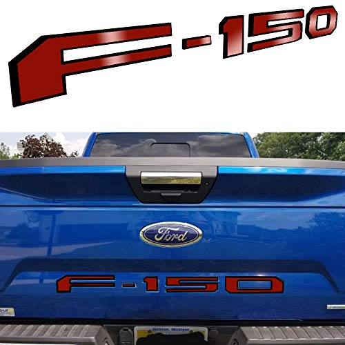 ARITA Tailgate Insert Letters for Ford F150 2018-2019 - 3M Adhesive & 3D Raised Metal Tailgate Decal Letters - Gloss Red with Black Border