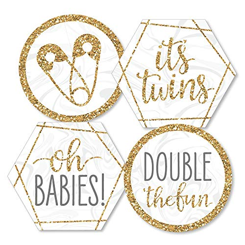 It's Twins - Decorations DIY Gold Twins Baby Shower Essentials - Set of 20 -
