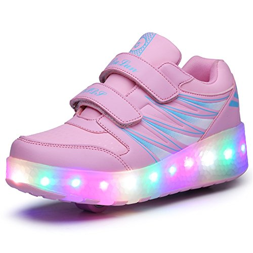 Ufatansy Uforme Kids Wheelies Lightweight Fashion Sneakers LED Light Up Shoes Single Wheel Double Wheels Roller Skate Shoes (3 M US=CN34, Pink/Double Wheel)