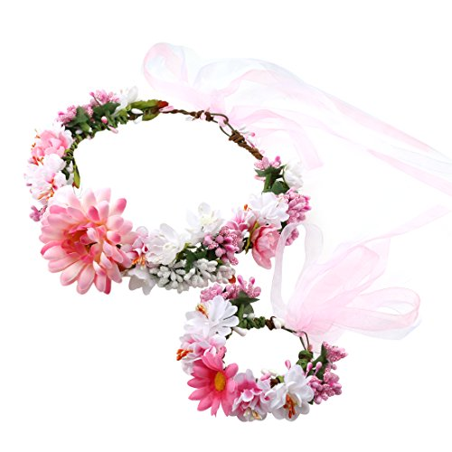 A-SZCXTOP Colorful Artificial Bridal Wreath Hairband Crown, Flower Wreath with Floral Wrist Band for Wedding Festivals and Beach Vacation Dress up (Making A Flower Crown)