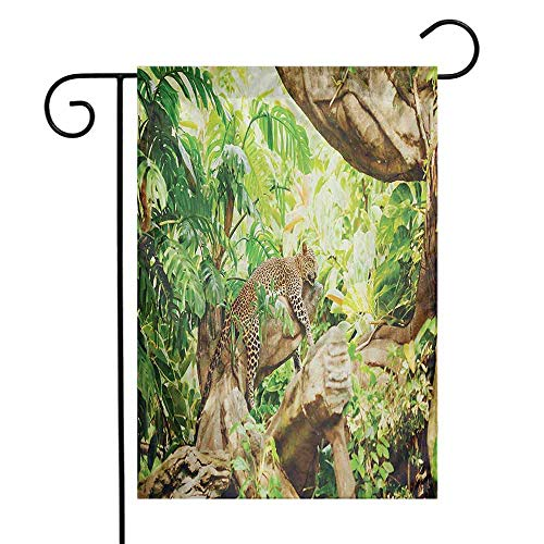 Safari Garden Flag Leopard on The Branch in Savannah Exotic Macro Tropical Leaf Jungle Wild Nature Art Decorative Flags for Garden Yard Lawn W12 x L18 Brown Green