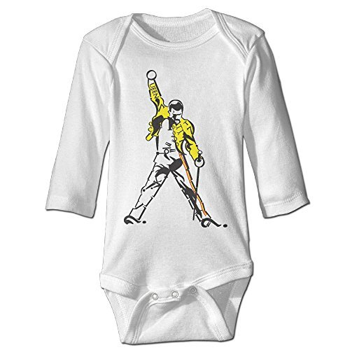 Raymond Freddie Mercury Long Sleeve Romper Bodysuit Outfits White 24 Months