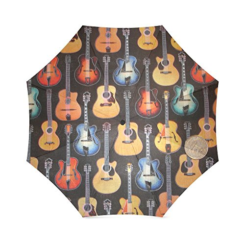 Price comparison product image Christmas Day Gift Colorful Guitar On Fire Compact Travel Windproof Rainproof Umbrella