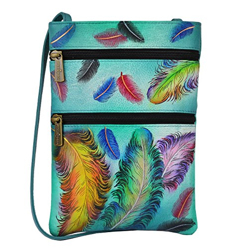 Anuschka Women's Genuine Leather Hand Painted Double Zip Travel Crossbody Bag | Floating Feathers (Heart Double Floating)