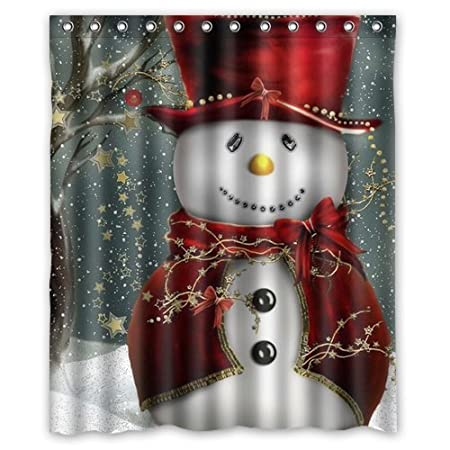 Christmas Snowman Background Waterproof Shower Curtain/Bath Curtain--Size: 60 x 72