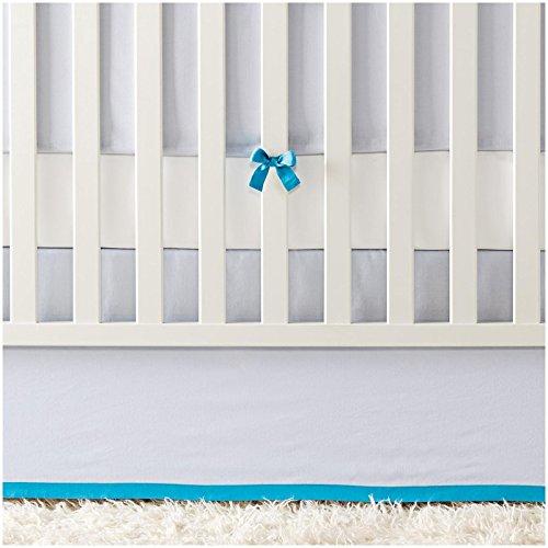 - Serena & Lily Banded Linen Crib Skirt - Chambray/Cyan