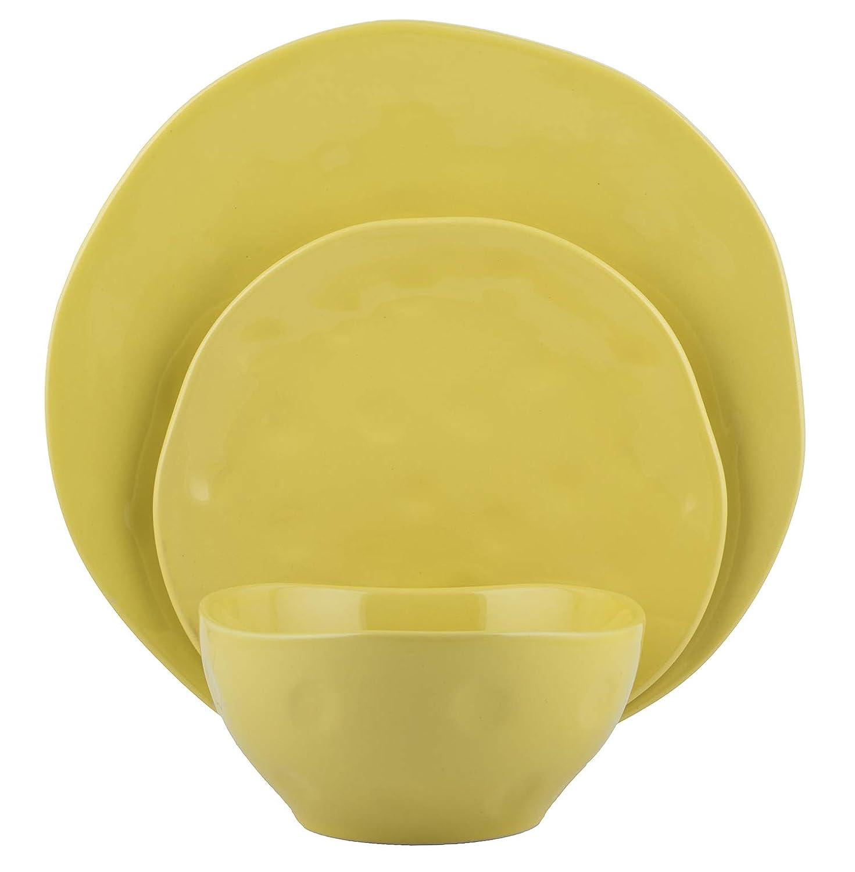 Sunflower Melange Stoneware 18-Piece Dinnerware Set   Irregular Shape Collection   Service for 6   Microwave, Dishwasher & Oven Safe   Dinner Plate, Salad Plate & Soup Bowl, White (6 Each)