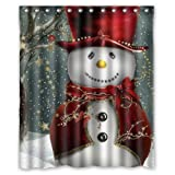 "Christmas Snowman Background Waterproof Shower Curtain/Bath Curtain--Size: 60"" x 72"""