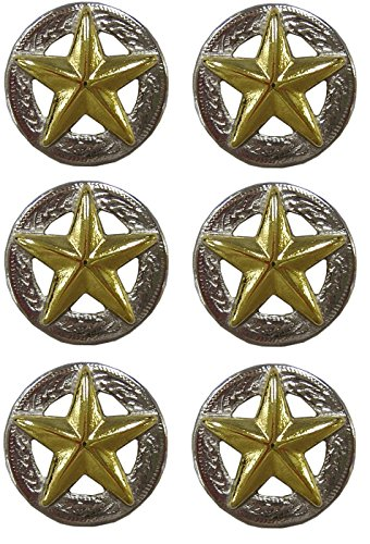 Gold Star Silver Conchos with Screw - 3/4