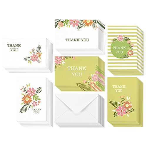 48 Assorted Pack Thank You Note Cards for Her - Bulk Box Set - Blank on the Inside - Vintage Feminine Floral Flower Design - Includes 48 Greeting Cards and Envelopes - 4 x 6 Inches