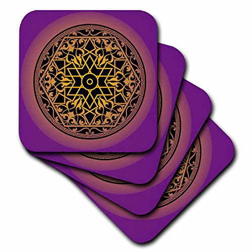 3dRose Sven Herkenrath Art - Intricate Islamic Ornament Vector Black on Purple Background - set of 8 Ceramic Tile Coasters (cst_281671_4) by 3dRose