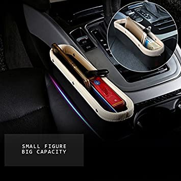 Console Side Pocket PU Leather Car Seat Gap Filler Organizer Catcher With Cup Holder