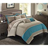 Chic Home 10 Piece Zarah Supersoft Oversized Pieced Color Block Banding Collection Comforter Set, King, Teal
