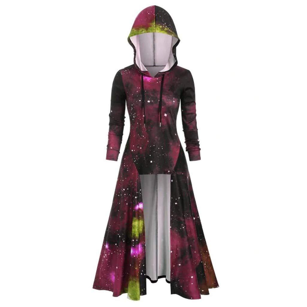 Shusuen Women's Vintage Hooded Trench Coat Gothic High Low Irregular Hem Overcoat Colorblock Cloak Wine by Shusuen_Clothes