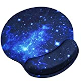 Galaxy Stars Mouse Pad with Gel Wrist Rest Support, Gaming Mouse Pad with Memory Foam for Computer/Laptop/Mac, Durable & Comfortable & Lightweight for Easy Typing & Pain Relief