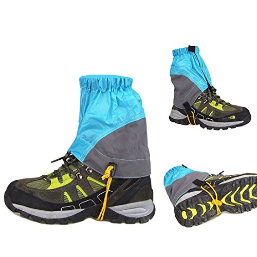 AMYIPO Unisex Ultra-Light Trail Snow Leg Gaiter Shorter Hiking Boots Gaiters Waterproof Gaiters (Blue)