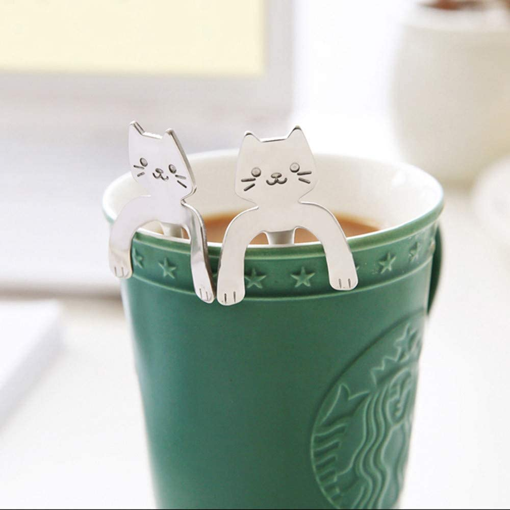 1 Piece Cute Cat Spoon Long Handle Spoons Flatware Drinking Tools Kitchen Gadget Kitchen Cooking Utensil Tool Soup Teaspoon Comfortable Grip Cooking Smooth Spoon