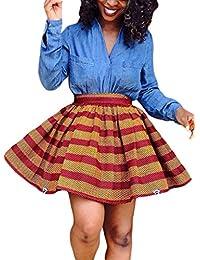 Dearlovers Women African Print High Waist A Line Short Skirt