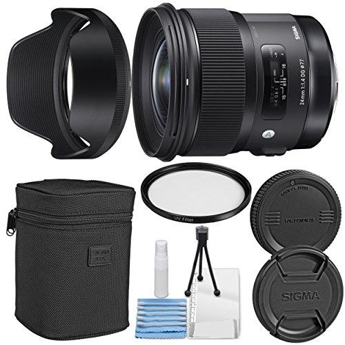 Sigma24mm f/1.4 DG HSM Art Lens for Canon EF + Essential Bundle Kit + 1 Year Warranty - International Version (No Warranty)