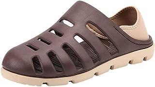 Chaussures ADESHOP Mode Pantoufles Plates Respirantes LéGèRes Et Respirantes pour Hommes De La Mode Trou De Plage Sandales Confortable Outdoor AntidéRapant Bande éLastique ÉPissage Couleur Sandales