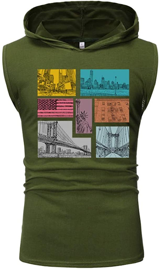 Gergeos Men Tank Tops Fashion Hooded Sleeveless Sport Gym Vest Tank Shirts