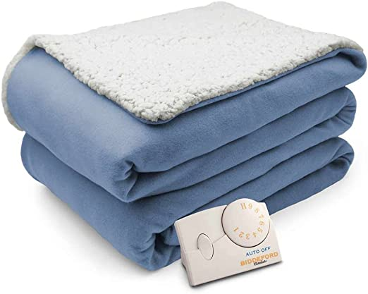 Biddeford Analog Comfort Knit Electric Heated Throw Blanket with Natural Sherpa