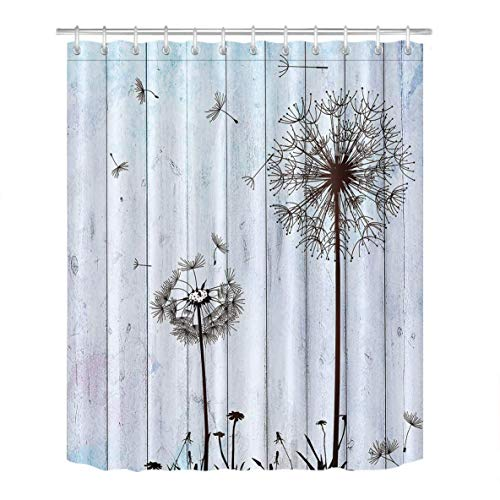 - PAUSEBOLL Spring Dandelion Flower Fade Wooden Floor S White Shower Curtain Bathroom with Hooks,Waterproof Polyester Curtain