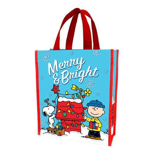 (Vandor 85373 Peanuts Merry and Bright Christmas Small Recycled Shopper Tote,)