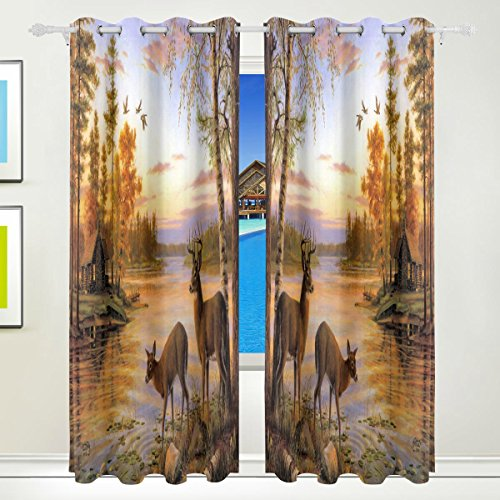 LAVOVO Peaceful Log Cabin Deer Flying Bird Pattern Curtains Room Darkening Thermal Insulated Blackout Window Panel Drapes for Living Room Bedroom 55x84 Inches,Set of 2 Panels - Bedroom Cabin