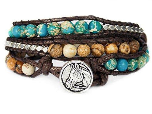 - Horse Lovers Equestrian Bracelet Jasper Bead Wrap (Teal)
