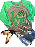 Anbech Love Clover Graphic Shirt Women Shamrock St. Patrick Day Raglan 3/4 Sleeve Baseball Tee Tops