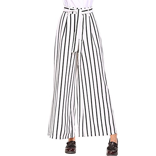 (MILIMIEYIK Palazzo Pants for Women Petite, Blouse Plus Size Wide Leg Pleated Loose Belted High Waist Casual Stripe Pants)