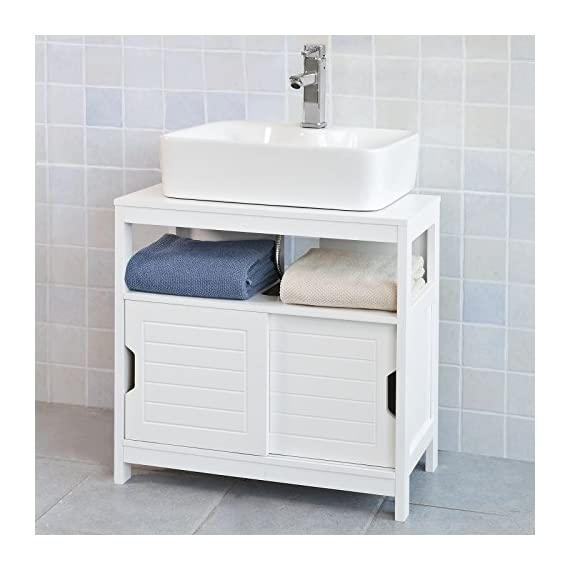 Haotian White Under Sink Bathroom Storage Cabinet with Shelf and Double Sliding Door,Bathroom Vanity 60x30x60cm,FRG128-W - White Under Sink Bathroom Storage Cabinet is perfect for your modern or traditional decor. It has 1 shelf and double sliding door with internal spacious space. Material/Finish: White MDF. Dimension:W23.62 x D11.81 x H23.62 inch. - bathroom-vanities, bathroom-fixtures-hardware, bathroom - 51bC22KmaML. SS570  -